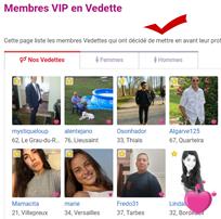 Profil affiché sur la page officielle des membres vedettes